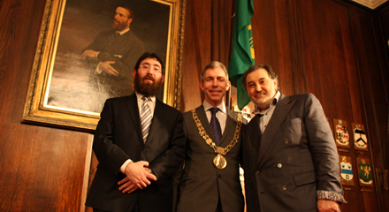 Pictured here is Rabbi Zalman Lent, Alderman Andrew Montague and Mr Maurice Cohen, Chairman of the Jewish Representative Council of Ireland.